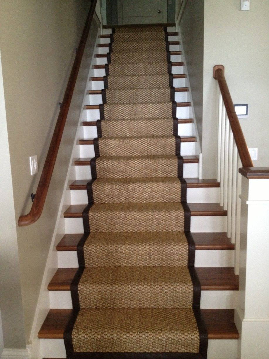Best Seagrass Stair Runner With Leather Wide Binding Stair 400 x 300