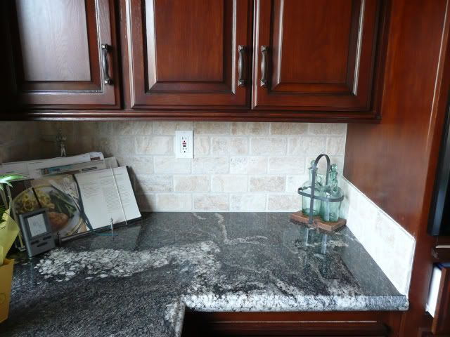 X Tumbled Marble Tile Backsplash Re Dark Counters Tumbled