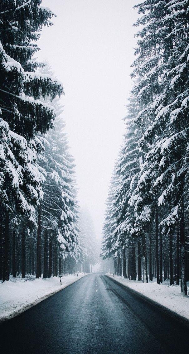 Beautiful Winter Road Snow Wallpaper Winter Landscape Iphone Wallpaper Winter Winter Scenery