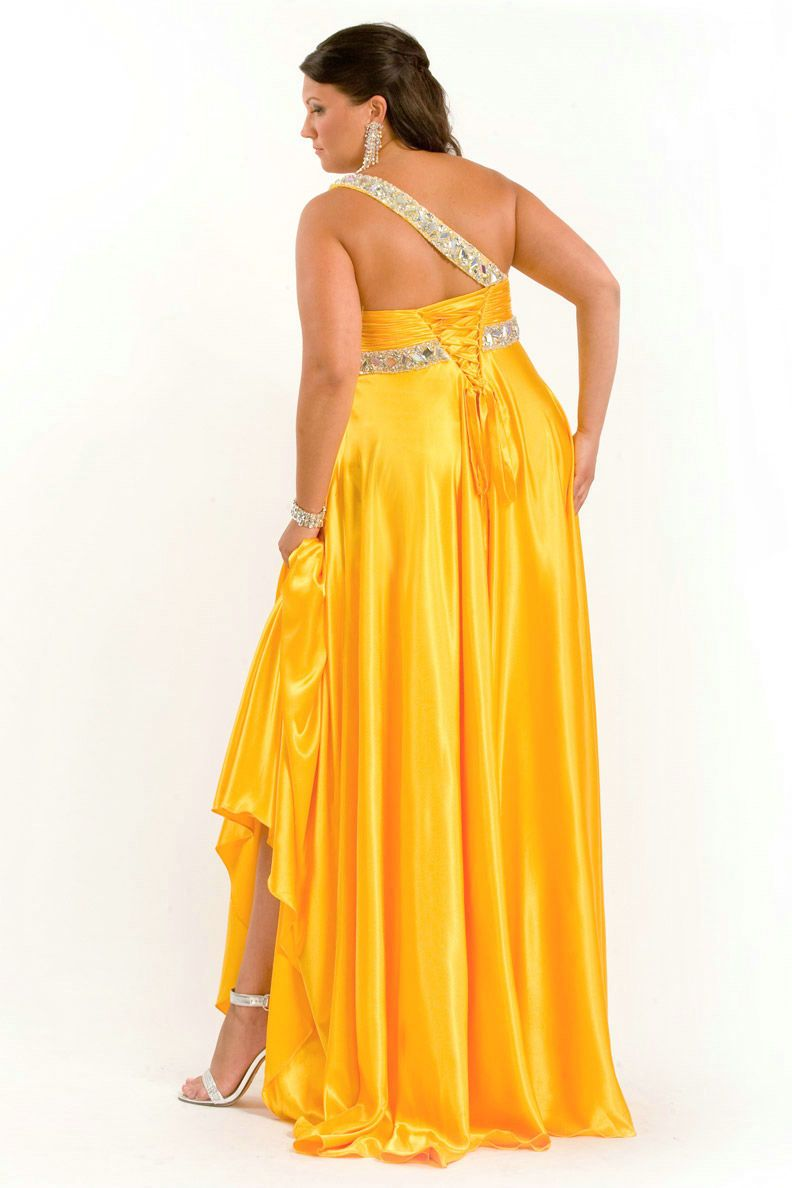 floor length one shoulder ruched beaded elegant yellow plus size