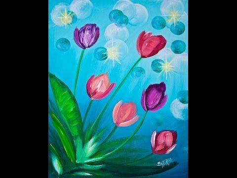Easy Spring Flowers Acrylic Painting On Canvas For Beginners