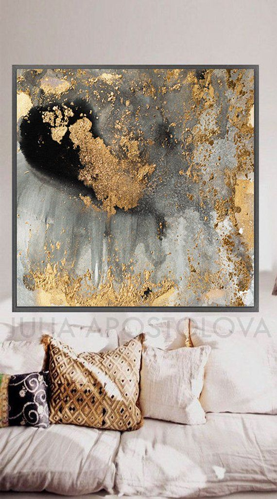 45 Gray Gold And Black Watercolor Large Goldleaf Reproduction Abstract Wall Art For Modern Interiors Xxl Canvas Print Painting By Julia Pinturas Abstractas Arte Abstracto Pintura Arte De Pared