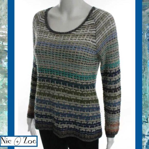 Nic Zoe Multi Color Stripe Open Knit Ls Sweater Knitting