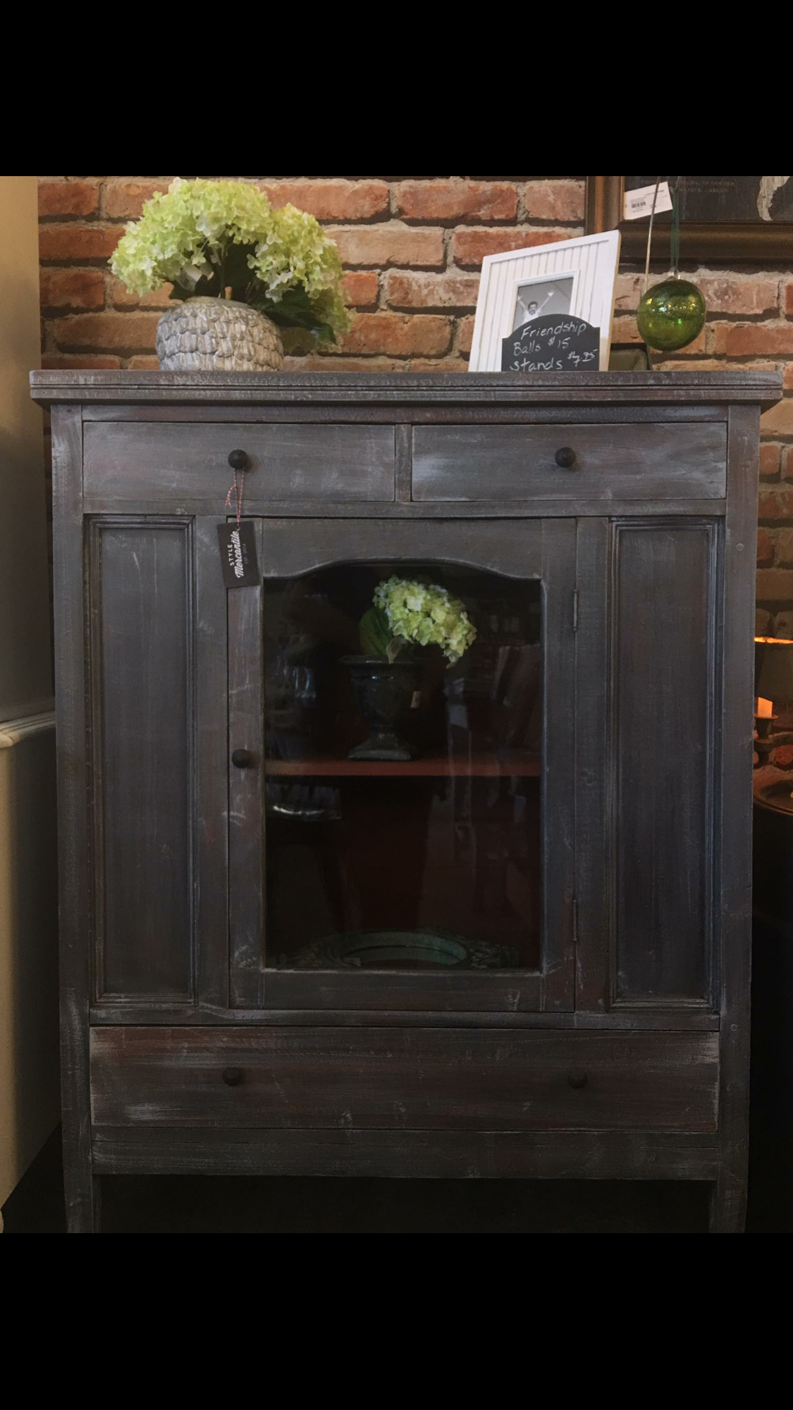 Antique cabinet painted in a deep grey with pale grey and ...