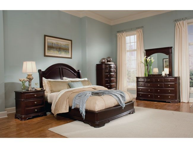 2000 The Furniture Dark Brown Traditional Style Bedroom Set With Low Profile Bed Dark Wood Bedroom Furniture Light Green Bedrooms Dark Bedroom Furniture