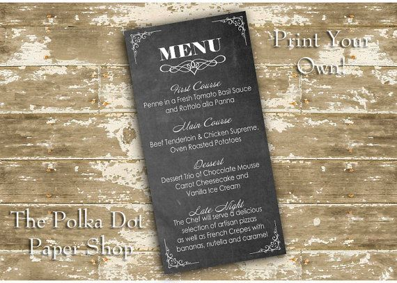 Do it yourself print your own wedding menu with chalkboard look do it yourself print your own wedding menu with by polkadotinvites solutioingenieria Choice Image