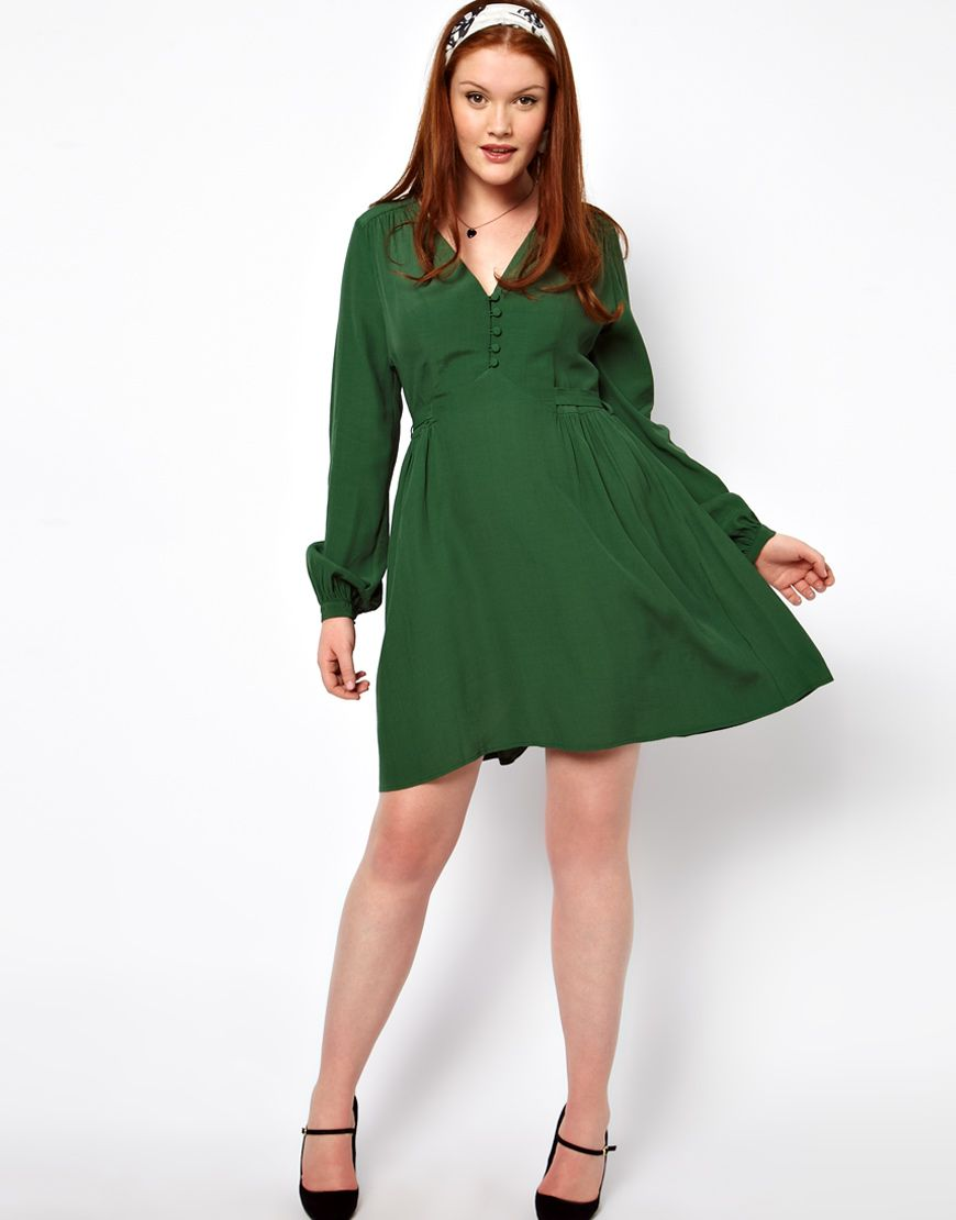 2e595cd798 Tea Dress With Button Detail from ASOS Curve. Plus size.... It s sad that  she s considered