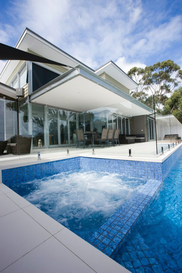 Elegant Spa And Pool With Frameless Glass Pool Fencing With Stainless Steel Spigots Glass Pool Fencing Glass Pool Fencing Glass Pool Glass Balustrade