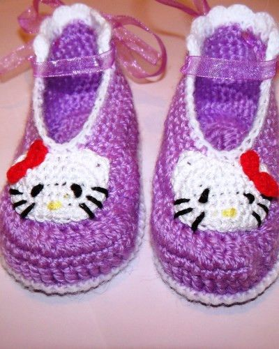 cc78d87c1 Crochet baby girl purple Hello Kitty shoes. 100% cotton. Made in EU €9.99  Size: 6-9m (10.5cm - UK1.5)
