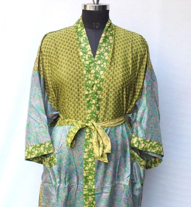 Photo of Vintage sari kimono, Bridal kimono dress, Recycled kimono, Beach wear robe, Saree kimono, High-quality Lingeries, Wedding kimono #MK 1036