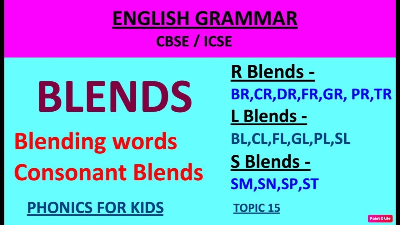 Learn Blends In English English Grammar Tutorial Phonics For Kids Consonant Blends [ 720 x 1280 Pixel ]