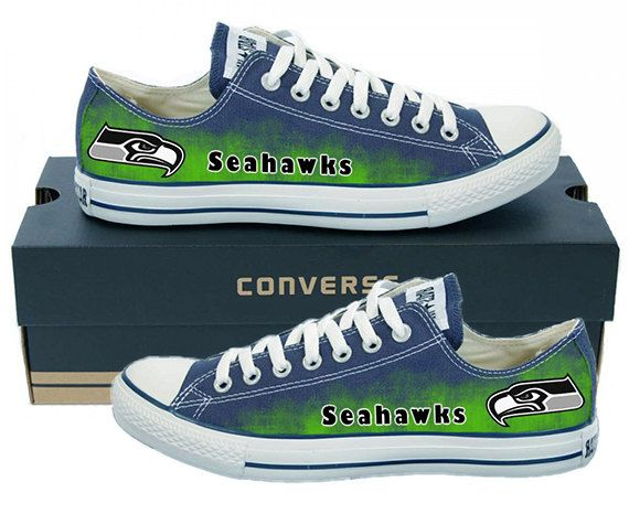d0dc4cd0661552 Painted Converse Low Sneakers. Seattle Seahawks. Hawks. Football.  Superbowl.12th man. Handpainted shoes.