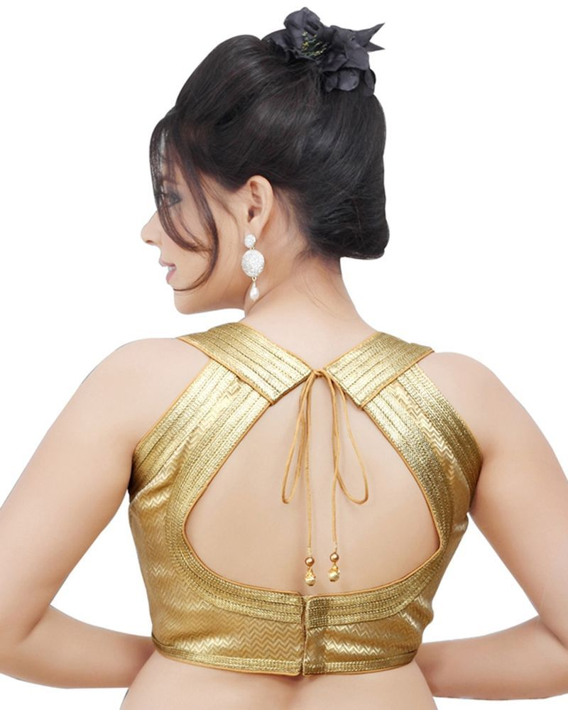 Beige golden brocade blouse blouse designs blouse designs for sarees - Brocade Readymade Gold Sleeveless Sari Saree Blouse Choli Crop Top Sarisaree Saree Blouse Designssari