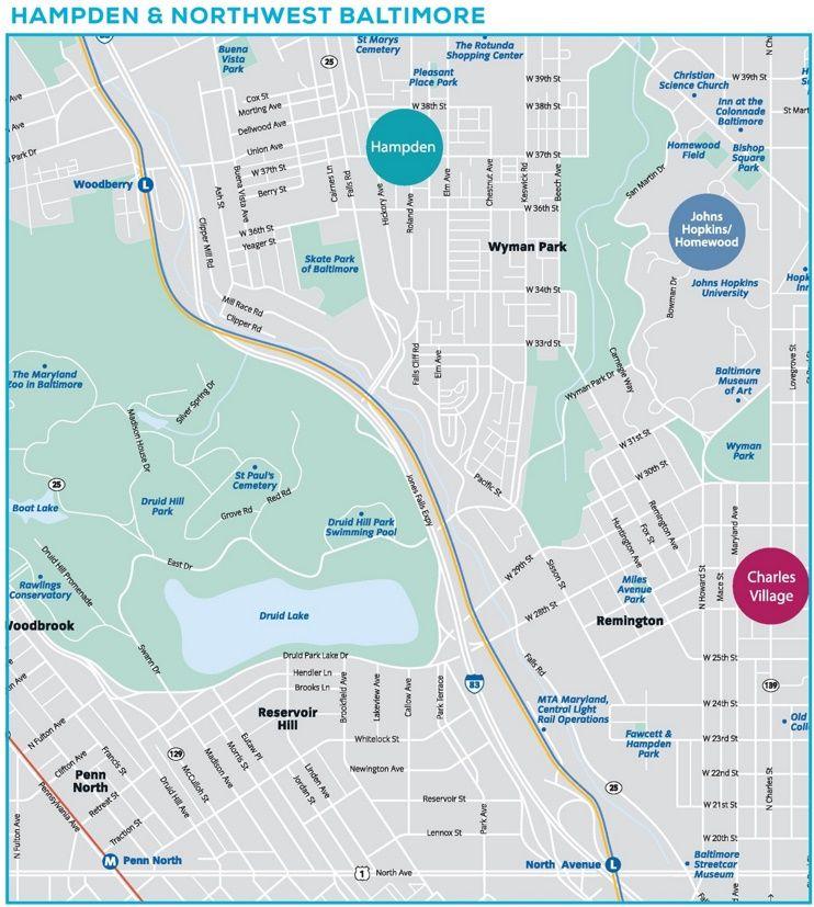 Hampden and northwest Baltimore map Maps Pinterest Baltimore
