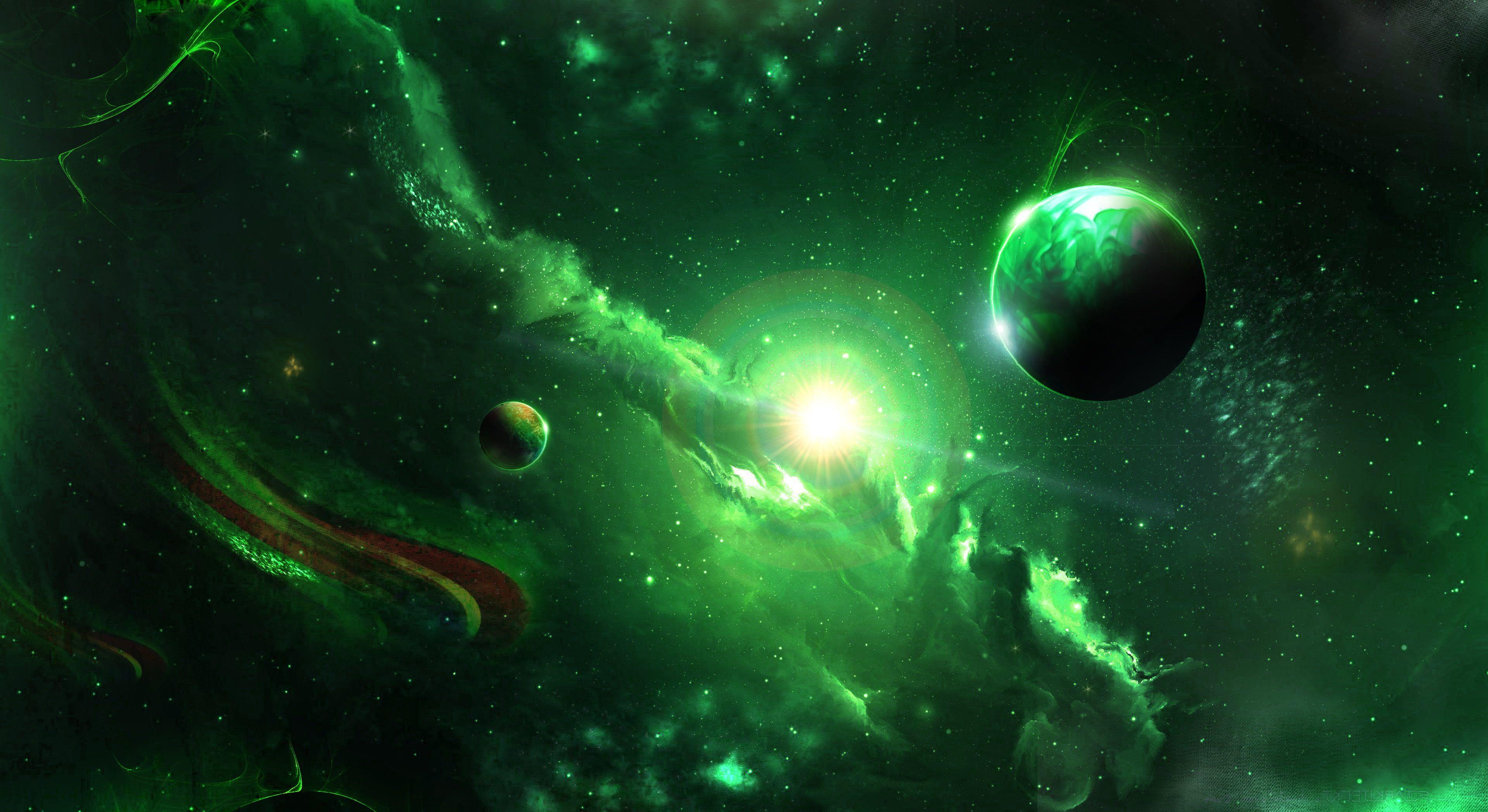 Sci Fi Nebula Green Planet Space 4k Wallpaper Hdwallpaper Desktop Nebula Wallpaper Astronaut Wallpaper Nebula