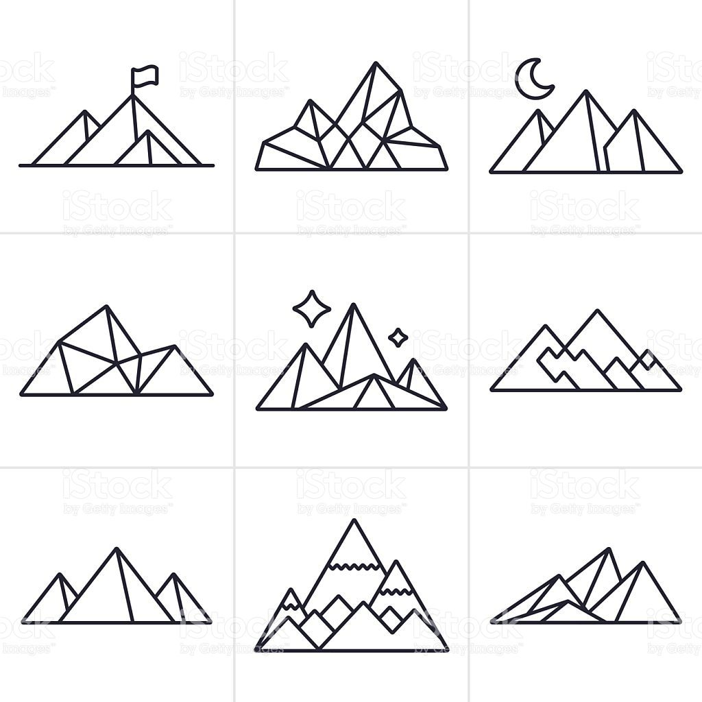 Mountain And Line Drawing Symbol And Icon Collection Eps 10 File