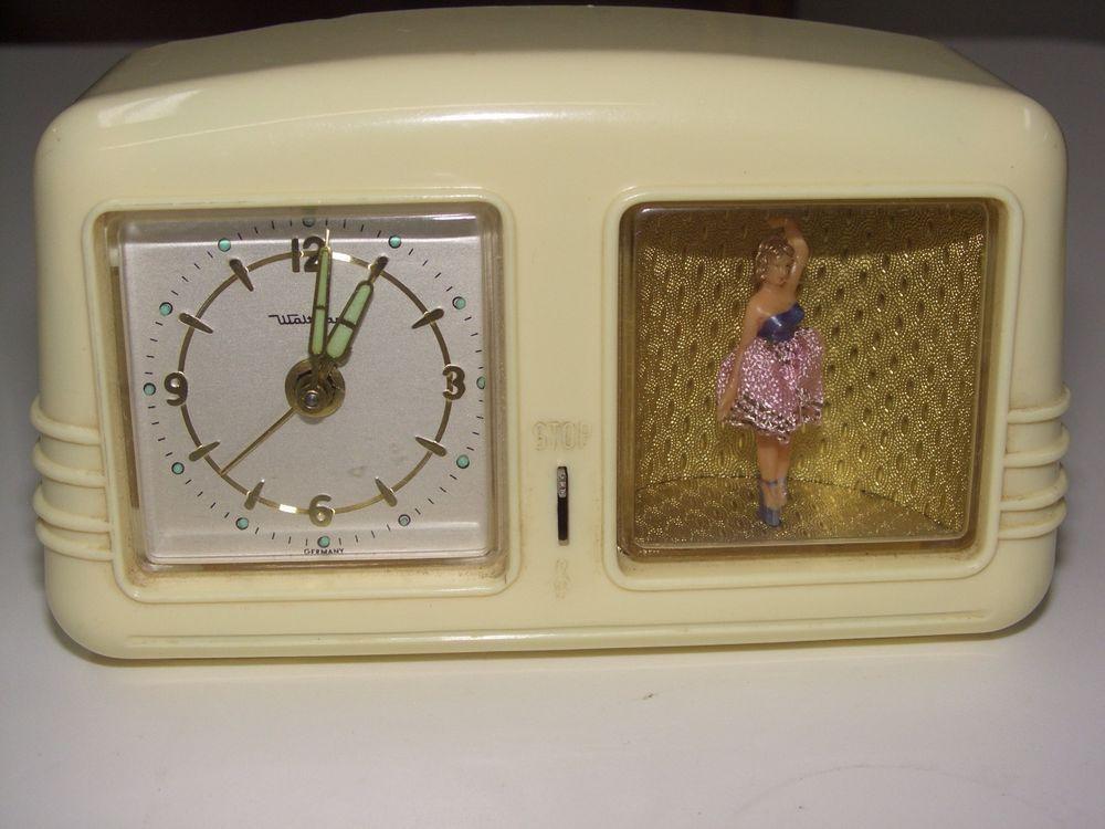 Working Vintage Waltham Dancing Ballerina Musical Alarm Clock