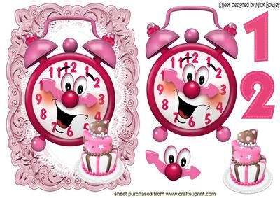 Yeh time to party with clock and cake on Craftsuprint - Add To Basket!