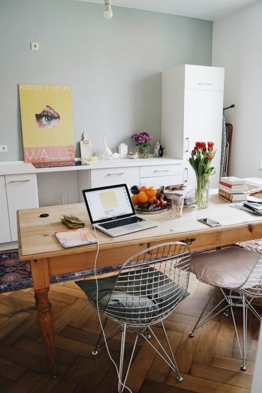 Den Arbeitsplatz Oder Das Home Office In Der Wohnkuche Platzieren