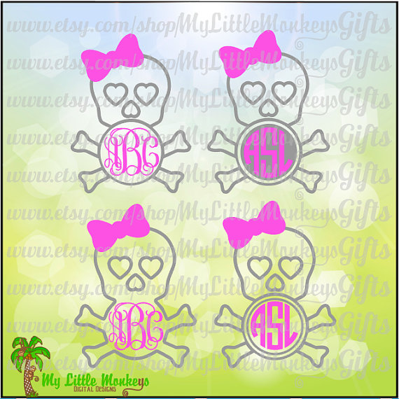 Skull and Crossbones with Bow Monogram by MyLittleMonkeysGifts