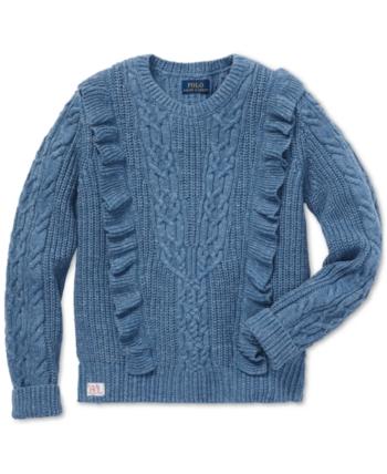 f8a3088596 Polo Ralph Lauren Big Girls Ruffled Aran-Knit Cotton Sweater ...