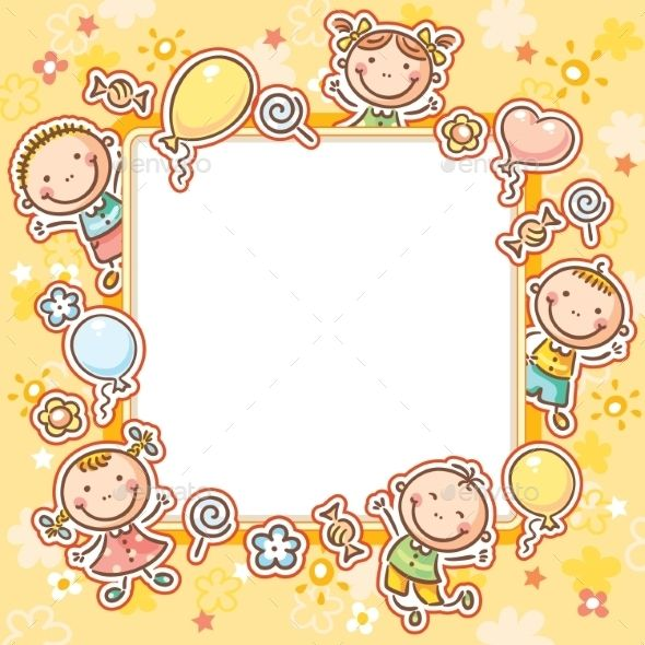 Kids Frame with Sweets and Balloons by katya_dav Square frame with ...