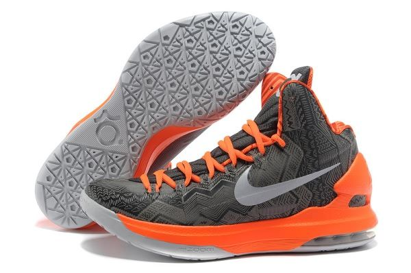 Nike Zoom Kevin Durant\u0027s KD V Negro Basketball shoes Grey/Orange