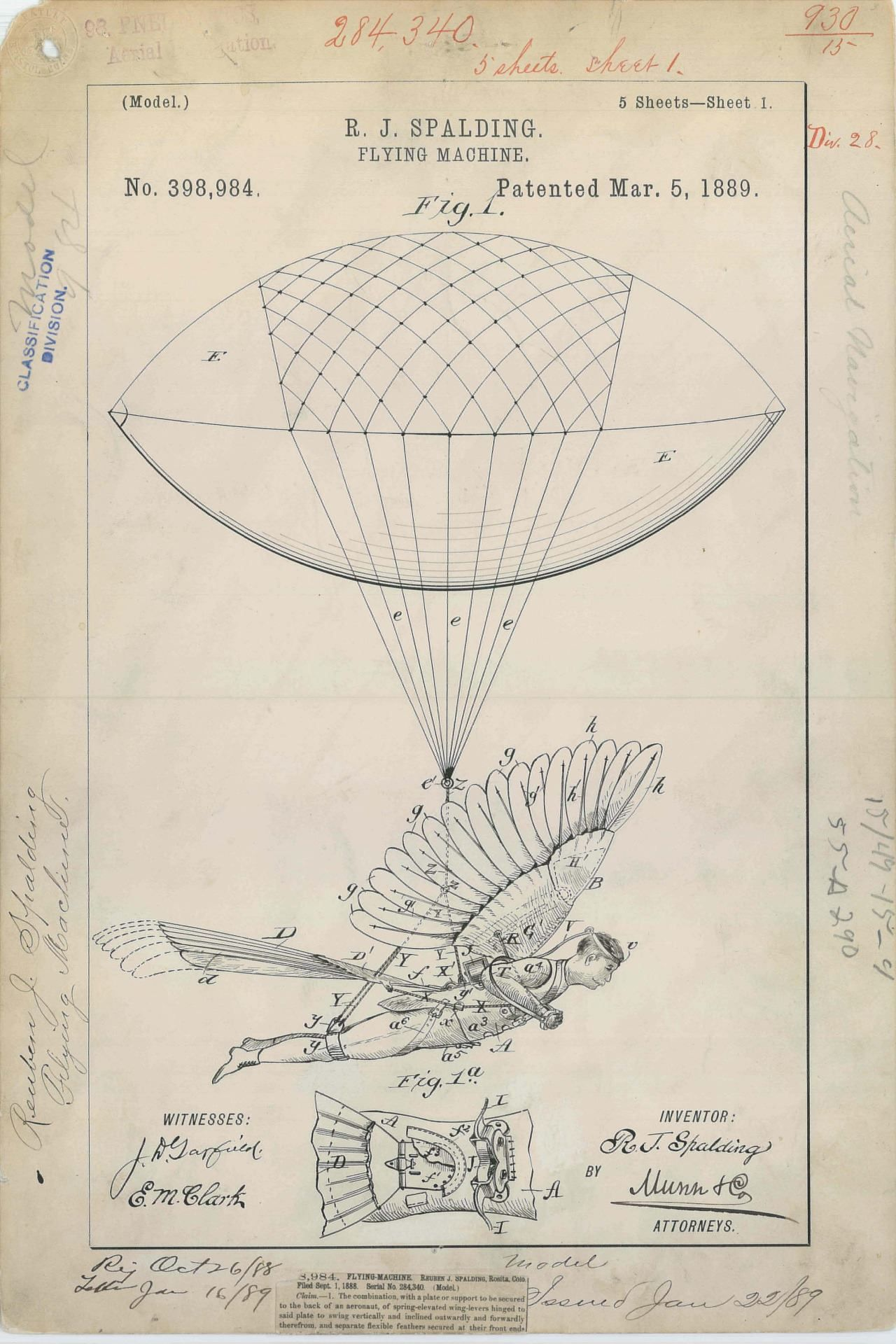 Patent drawing for r j spaldings flying machine 1889 1 2801 920 drawings malvernweather Image collections