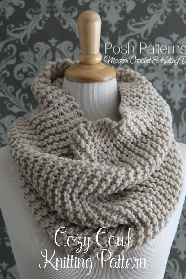 Knitting Pattern Easy Knit Cowl Pattern Infinity Scarf