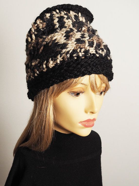 7ca8d88b0d1 Black and white hat Ready to ship Fashion knit by TheMastHatter  125