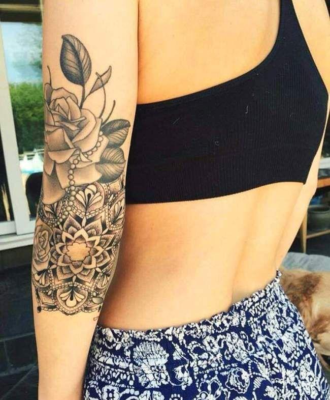 Tatouage avant bras femme mandala avec rose - Mandala tatouage femme ...