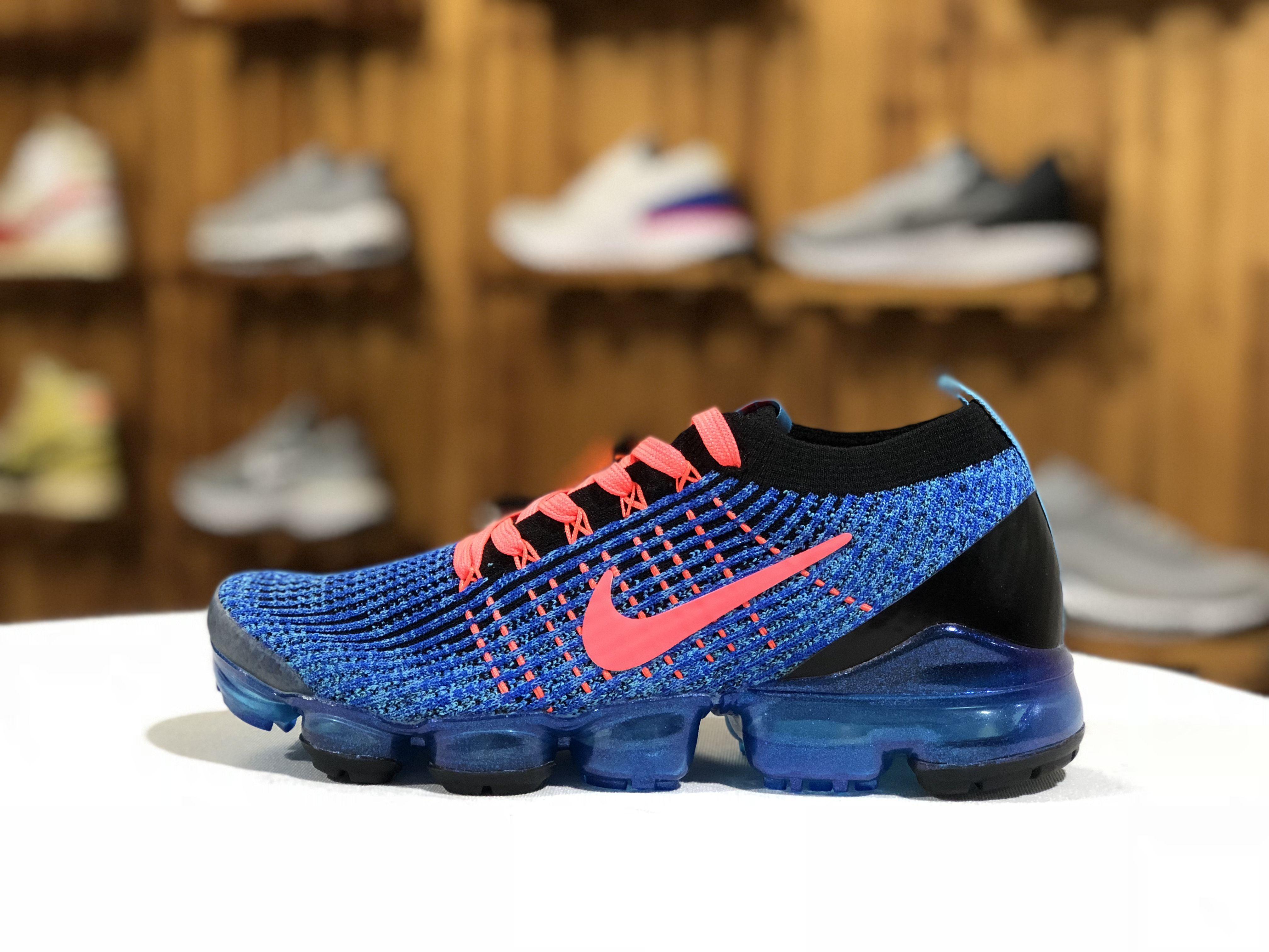 698fcd932540e Nike Air Vapormax Flyknit 2019 3.0 Black Royal Blue Pink Running Shoes