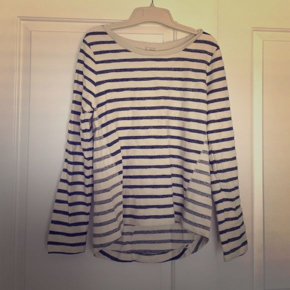 Long-sleeve Striped Shirt (GAP) White and blue striped shirt from GAP with side detail. Slightly longer in the back. Light enough to wear when cool during the summer. GAP Tops Tees - Long Sleeve