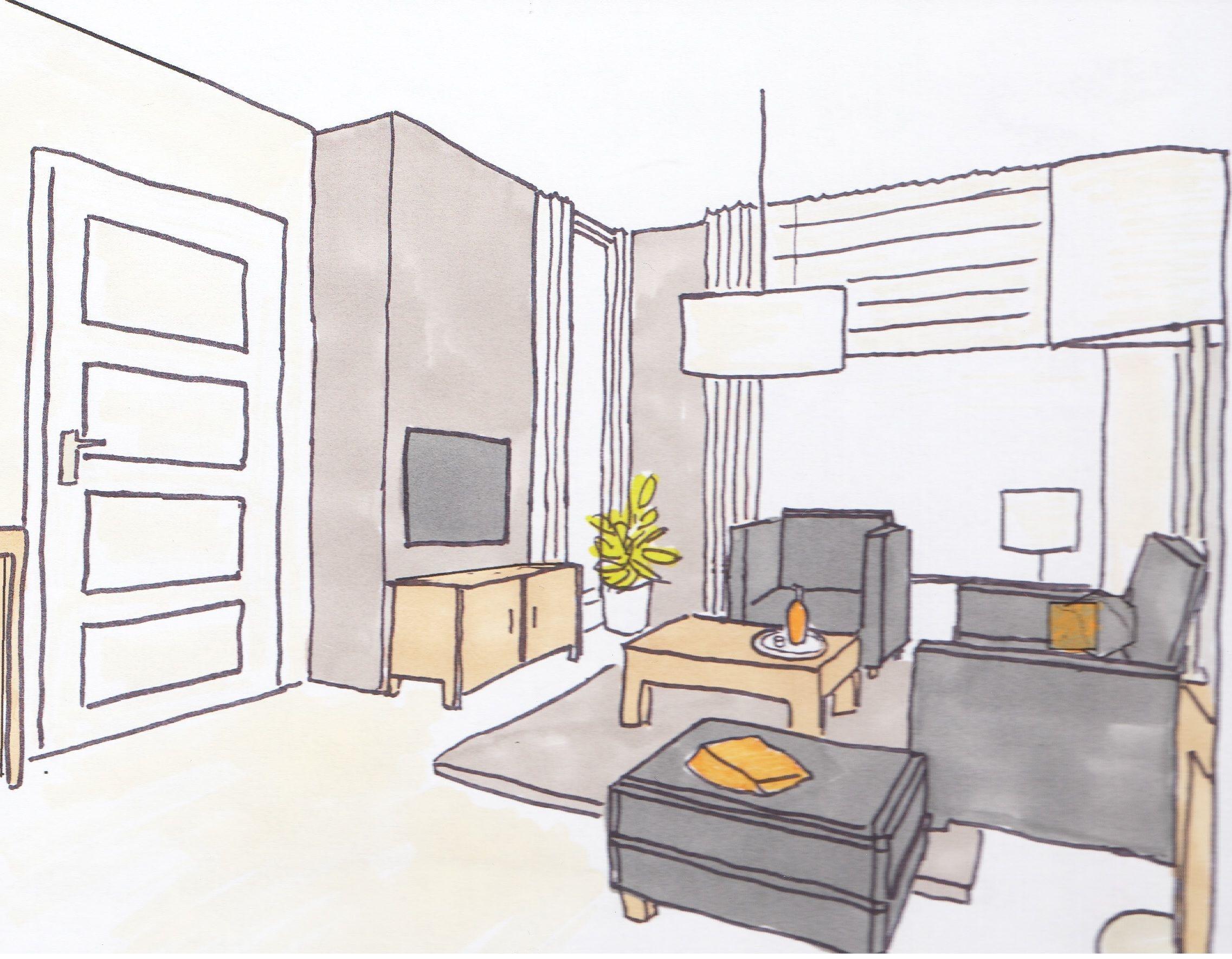 Perspectief opdrachten interieurstylist for Kamer 3d tekenen