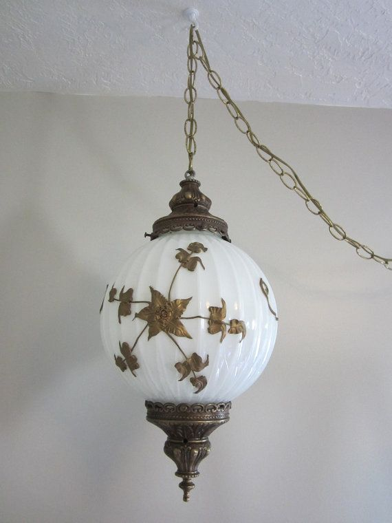 Vintage 70 S Swag Hanging Chain Light Fixture Light Gold With Attached Gold Metal Flowers Light Fixtures Swag Lamp Unique Table Lamps