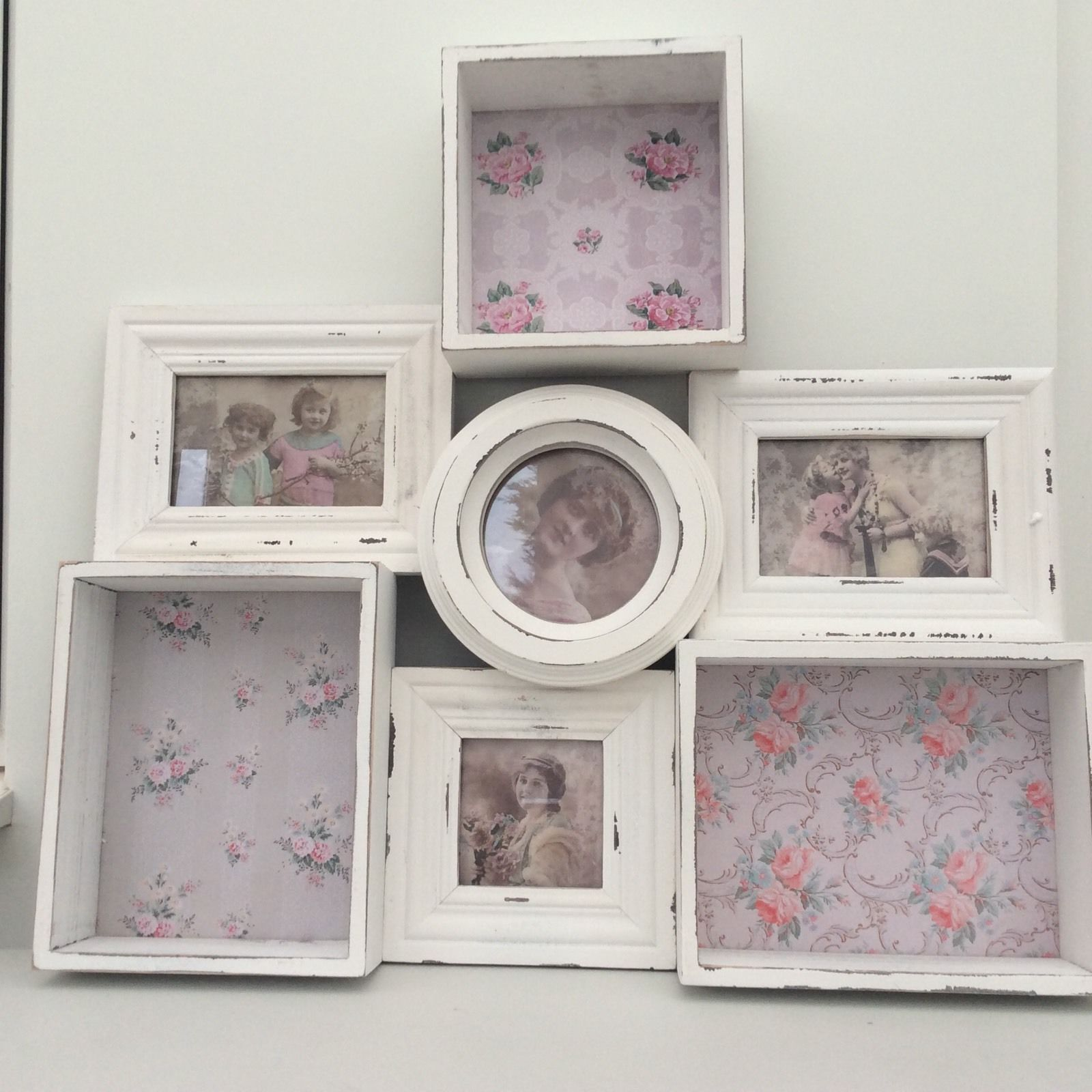 French Vintage Shabby Chic White Floral Multi Photo Frame Wall
