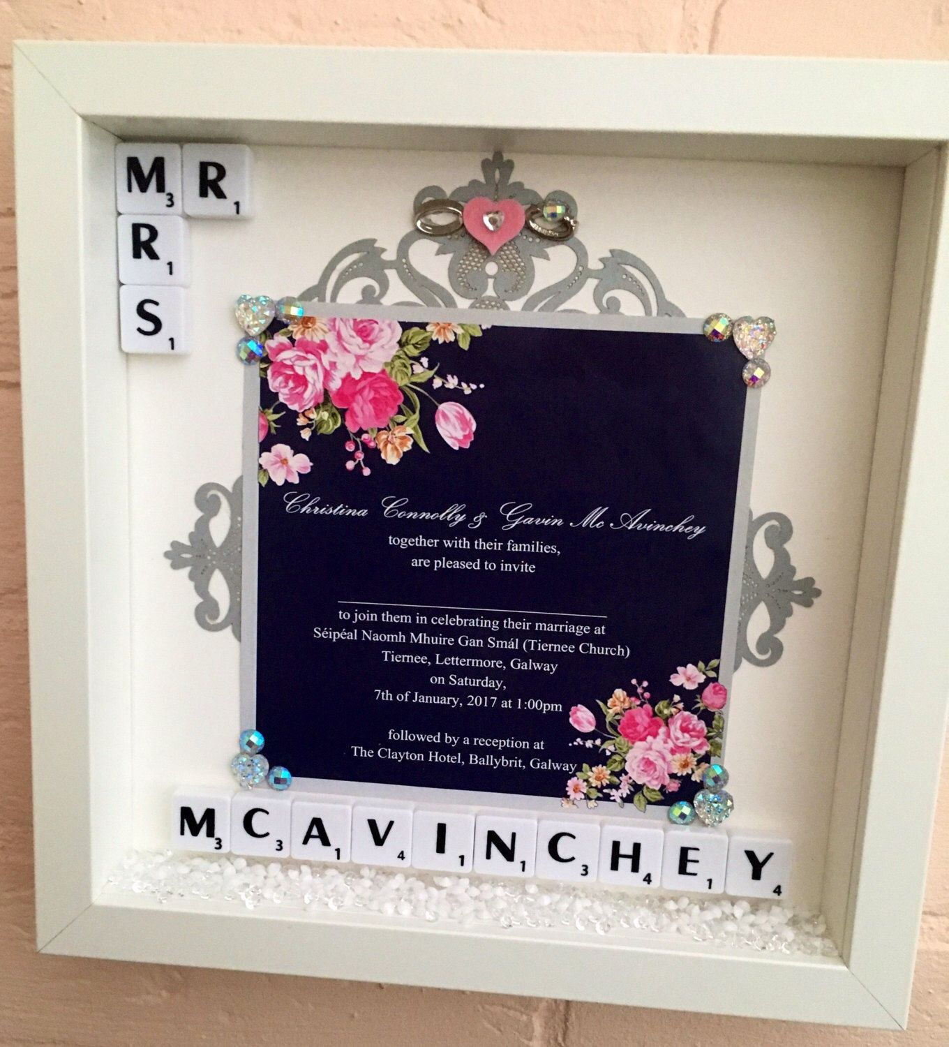 Wedding Invitation Gifts Ideas: Wedding Invitation Keepsake Frame, Personalised Wedding