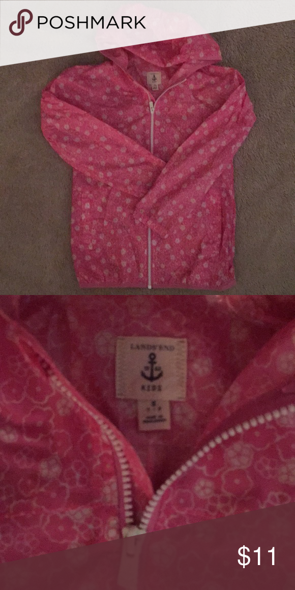 5574bfa84 Girls Lands End raincoat Girls pink and white floral rain jacket size small  7-8. Lightweight and unlined. Very cute! Lands' End Jackets & Coats