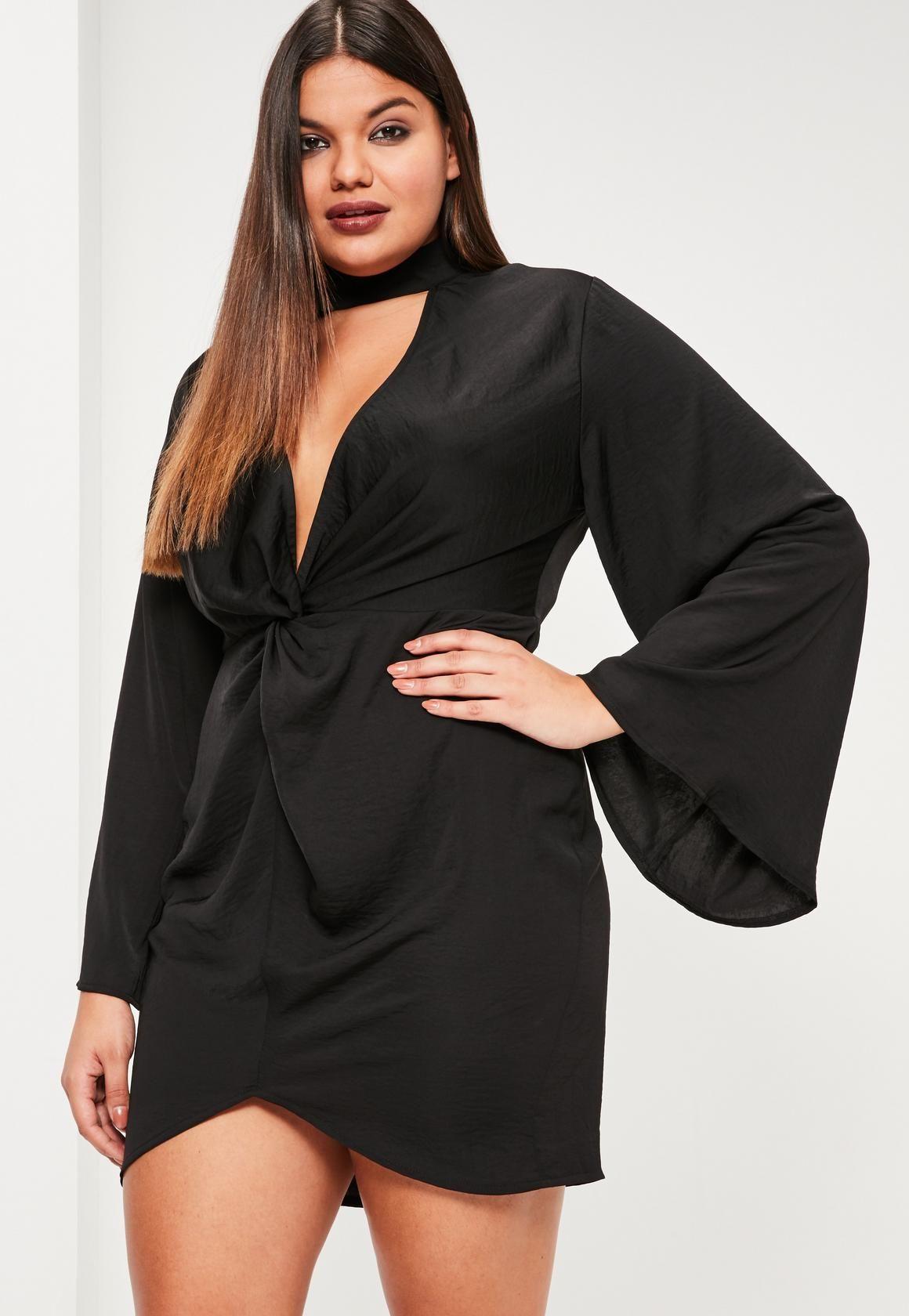 Missguided Curve Black Hammered Satin Tab Neck Dress