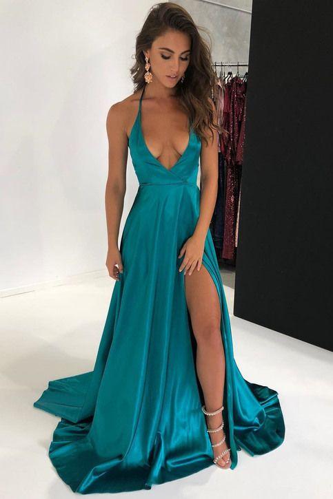 79a738f3cd Sexy Halter Deep V-Neck Split Long Prom Dress