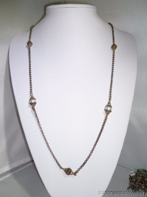 "KONSTANTINO Silver 925 18K GOLD Beads & Pearls Chain Necklace 35"" Long #KONSTANTINO #ChainNecklace"