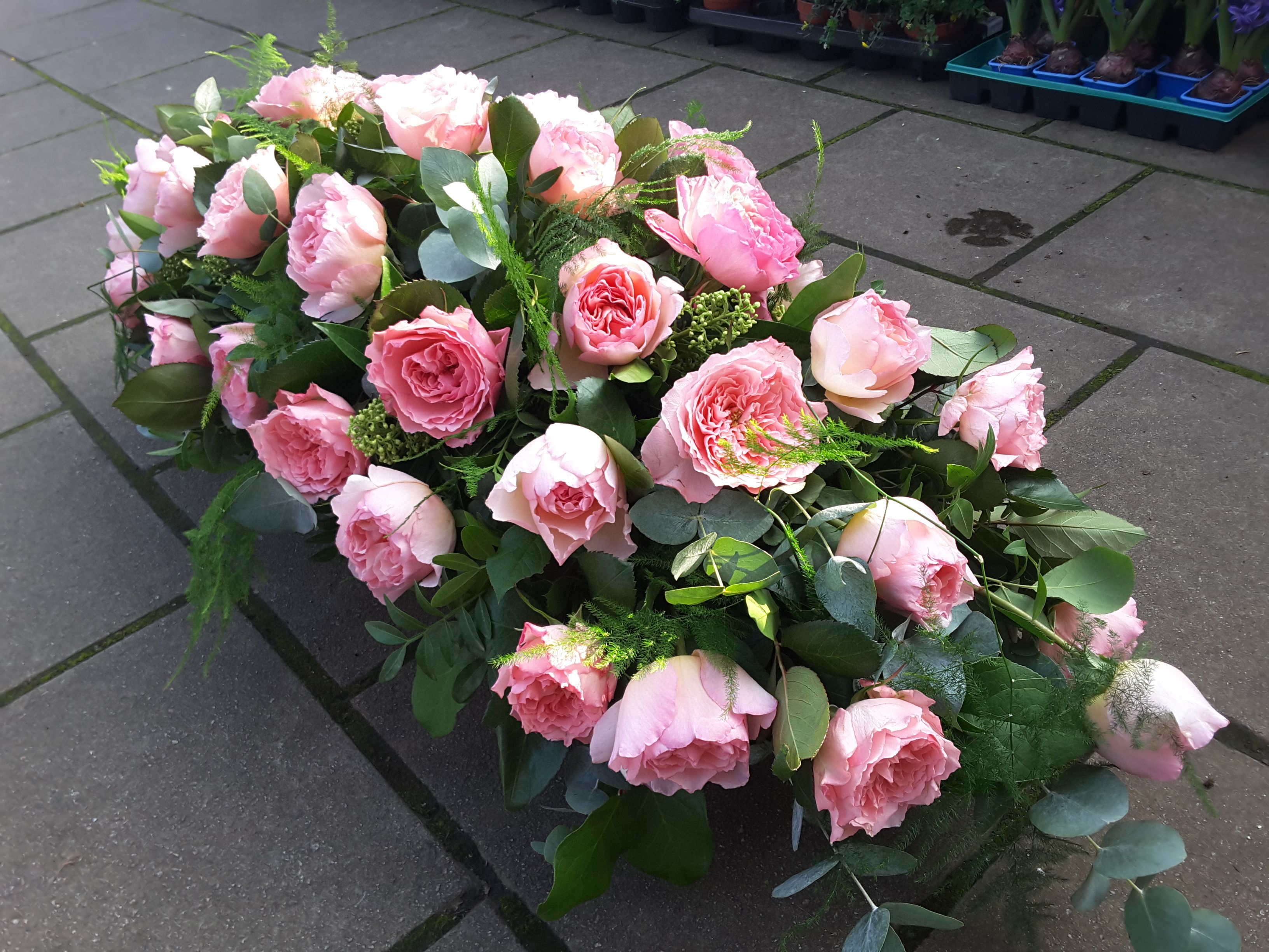 A Coffin Spray of Scented David Austen Roses for a keen