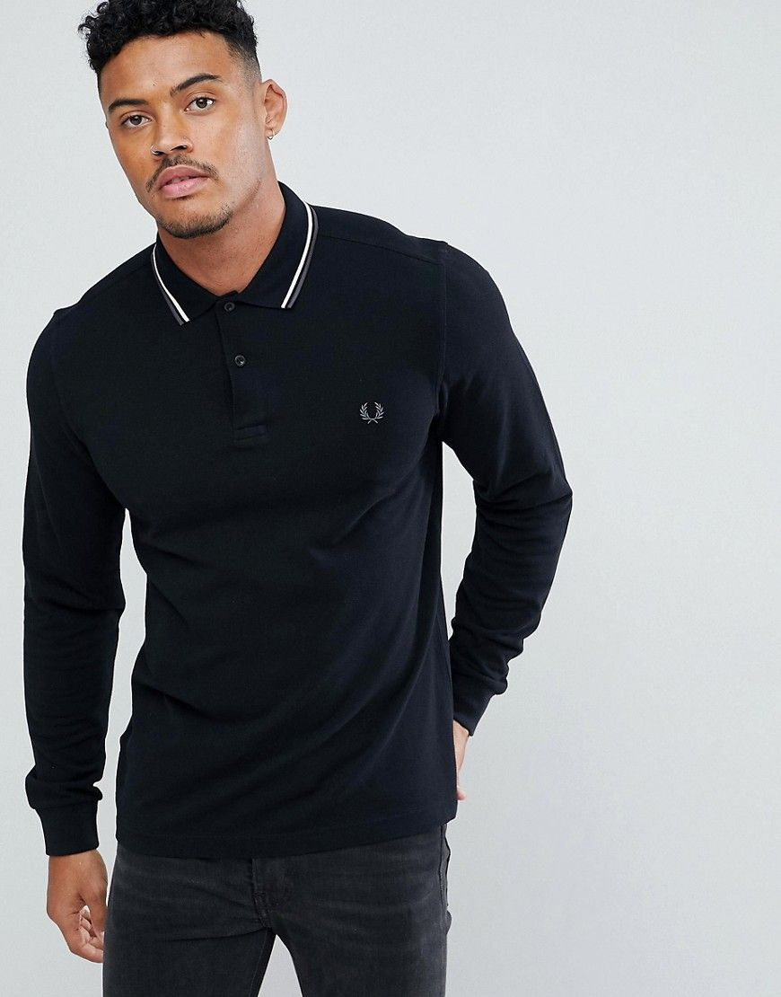 c004a8dc0 FRED PERRY LONG SLEEVE SLIM FIT TWIN TIPPED POLO SHIRT IN BLACK - BLACK.   fredperry  cloth