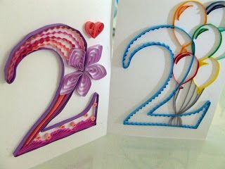 Week Twenty-Seven: Quilled Birthday Cards for Two Year Olds!