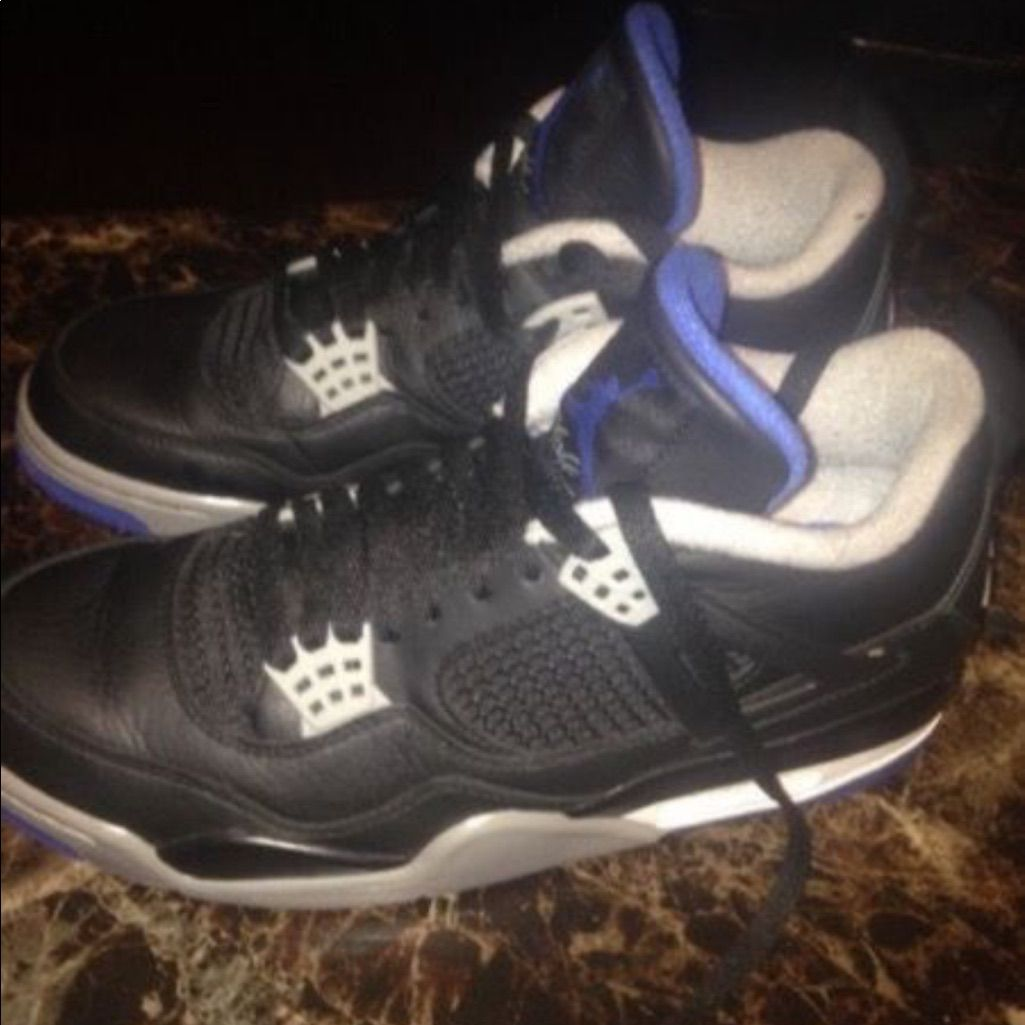 Air Jordan Shoes   Jordan 4s   Color  Black/Blue   Size  9 ...