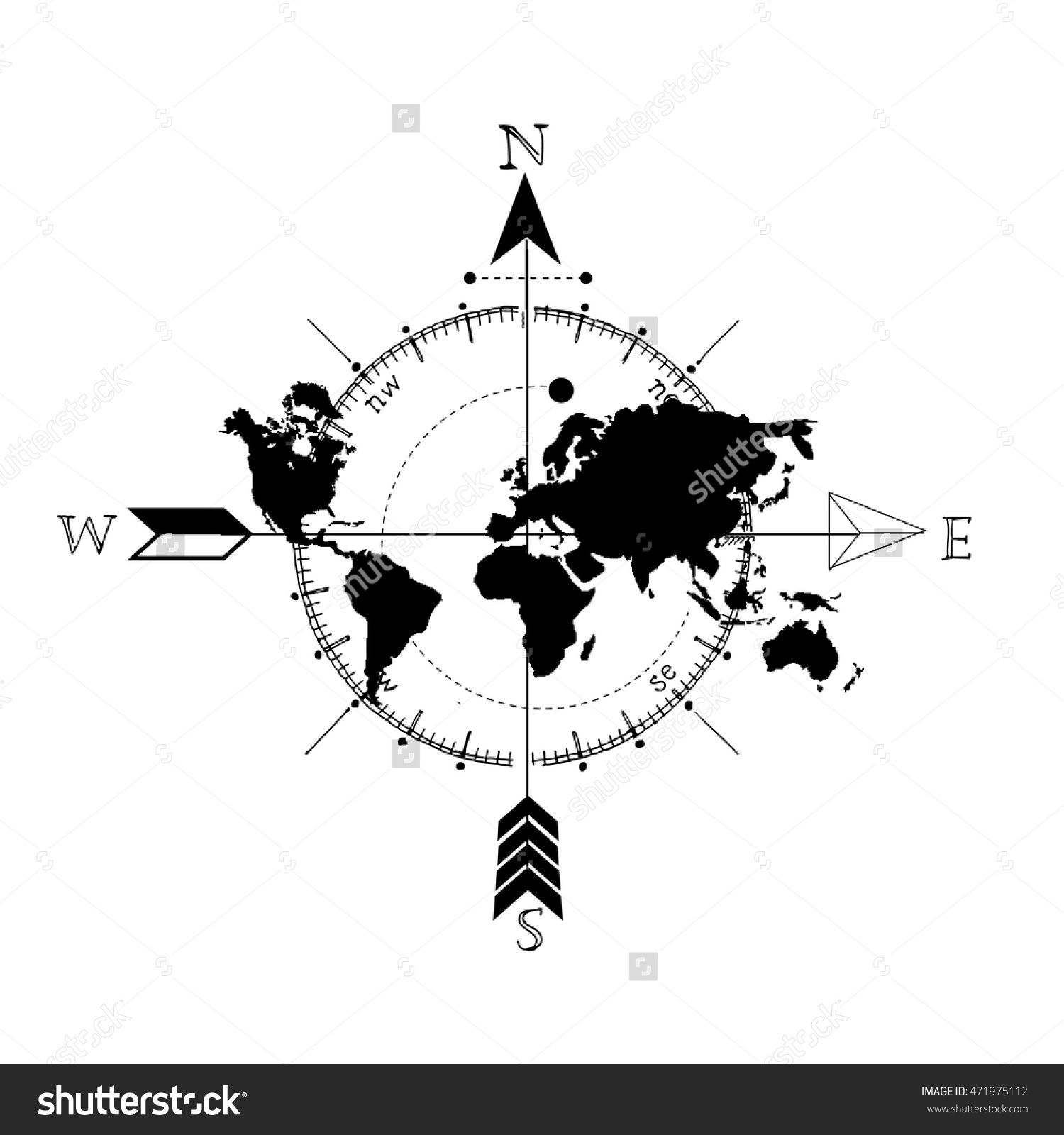 Line Art Map : Stock vector stylized world map with compass and arrow