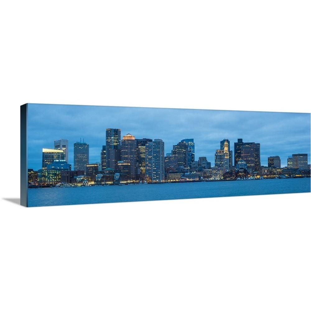 Greatbigcanvas 36 In X 12 In Boston City Skyline At Night By Circle Capture Canvas Wall Art Multi Color Canvas Wall Art Wall Art Skyline