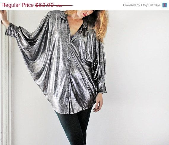 Vintage 90s Womens Disco Silver Shining Long Sleeve Blouse Shirt Top size L