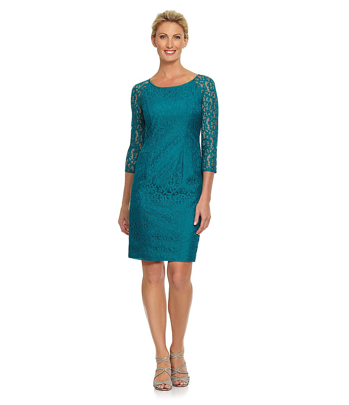 Leslie Fay 3/4-Sleeve Lace Dress | Dillards.com | Mother of the ...