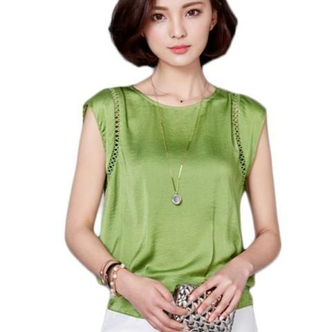 1c4112707e Women Blouse Shirt Short Sleeve Plus Size Chiffon Blouses O Neck Solid Casual  Loose Female Blusas Feminina Tops New Arrival